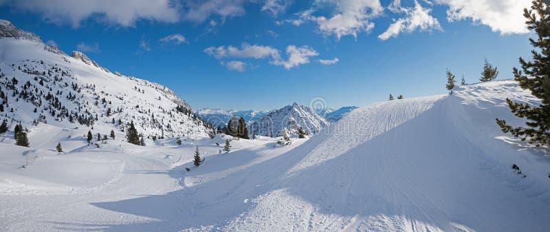 Winter sports area rofan in the austrian alps, beautiful slope a. Breathtaking winter sports area rofan in the austrian alps, beautiful slope and mountain view stock photo