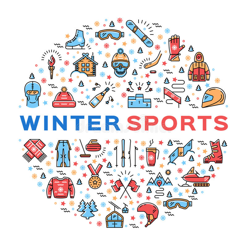 Winter sports colorful thin line icons set, Clothing and equipment. Winter sports collage of icons in a circle. Trendy infographics for a sporting event, contest vector illustration