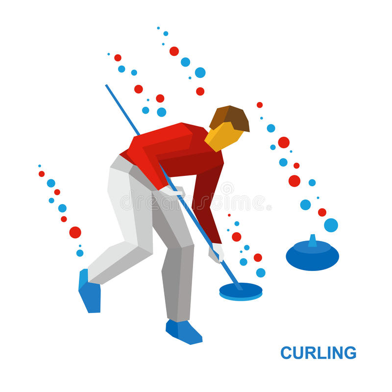 Winter sports - curling. Cartoon player clear way to stone vector illustration