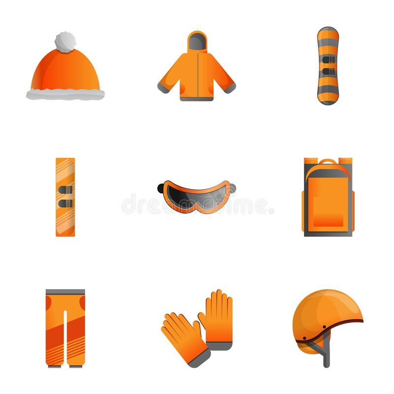 Winter sports equipment icon set, cartoon style stock illustration