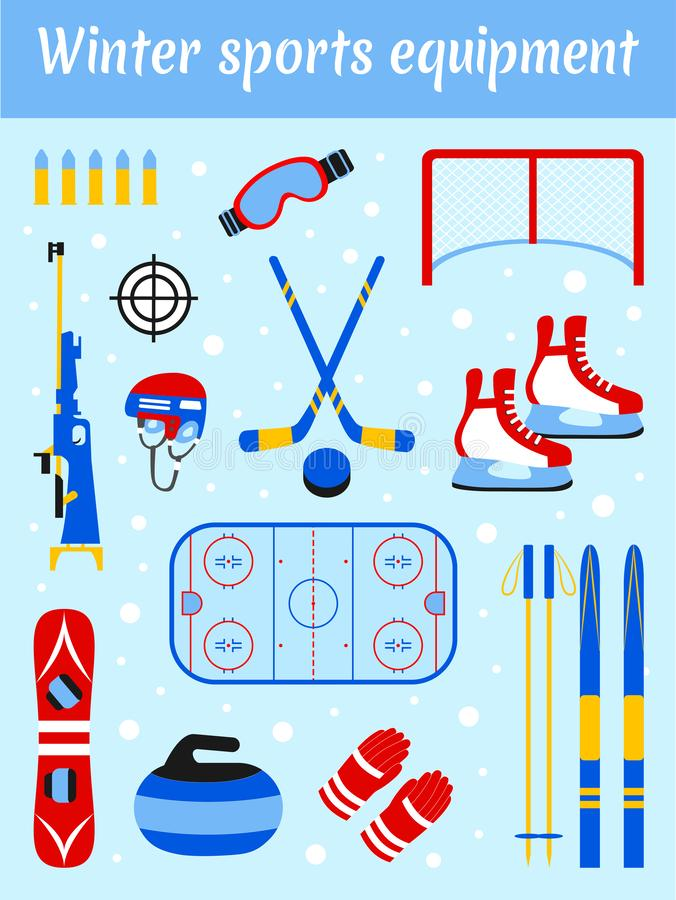 Winter sports equipment set. Sporting accessories vector illustration. Skiing, ice hockey, snowboarding, biathlon royalty free illustration