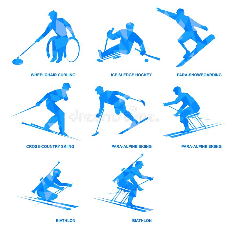 Winter sports icon set. Eight silhouettes of athletes with disabilities. stock illustration