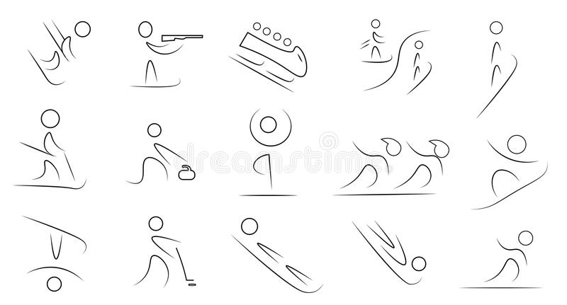 Winter sports icon set royalty free illustration