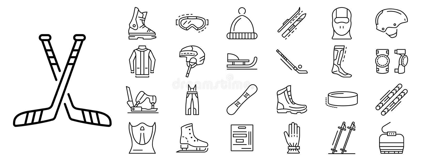 Winter sports icon set, outline style royalty free illustration