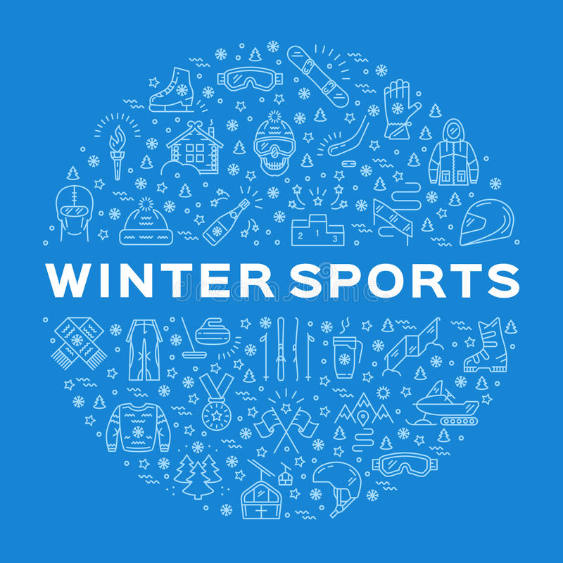 Winter sports icons, circle infographics for sporting event, contest, shop vector illustration