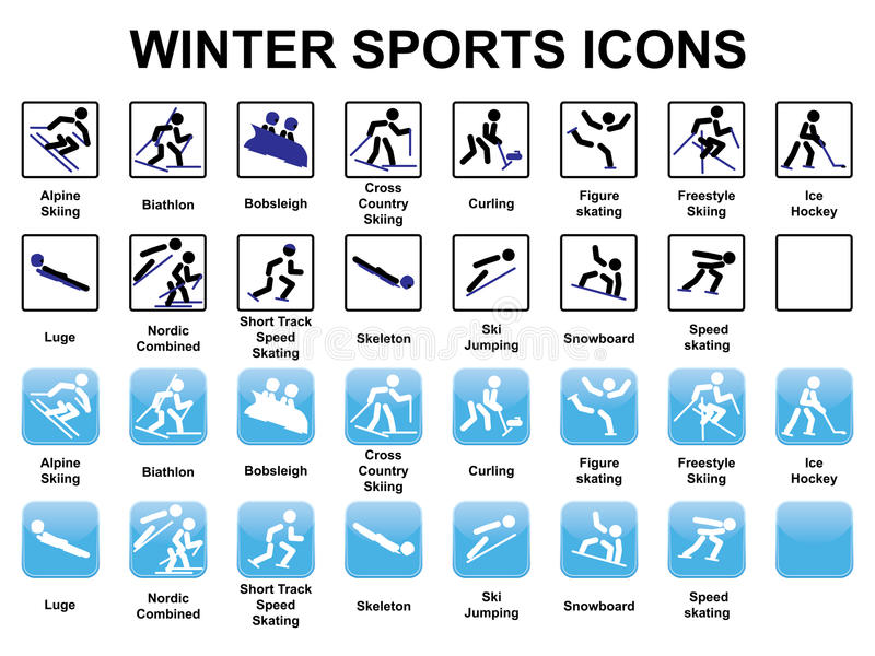 Download Winter sports icons stock image. Image of black, cross - 32566171