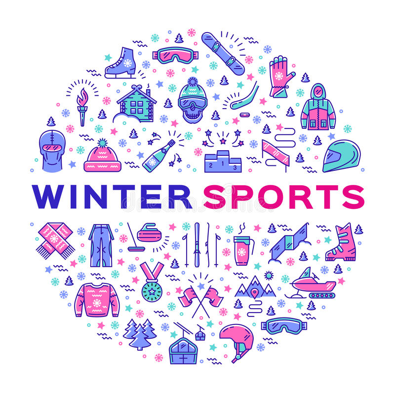 Winter sports infographics, Color thin line icons, Clothing and equipment. Winter sports icons. Collage of sports symbols in a circle. Trendy infographics for a stock illustration