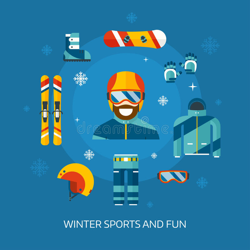 Winter Sports Kit and Boarder Man vector illustration
