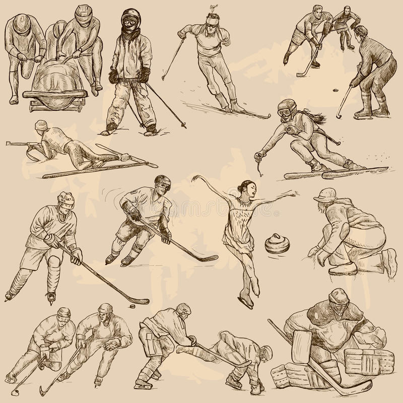 Winter sports, mix - An hand drawn vector collection. Sporting events, WINTER SPORT and Athletes in different situations. Vector collection of an hand drawn vector illustration