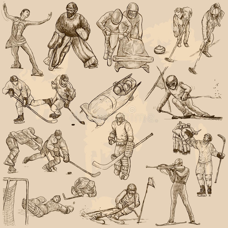 Winter sports, mix - An hand drawn vector collection. Sporting events, WINTER SPORT and Athletes in different situations. Vector collection of an hand drawn stock illustration