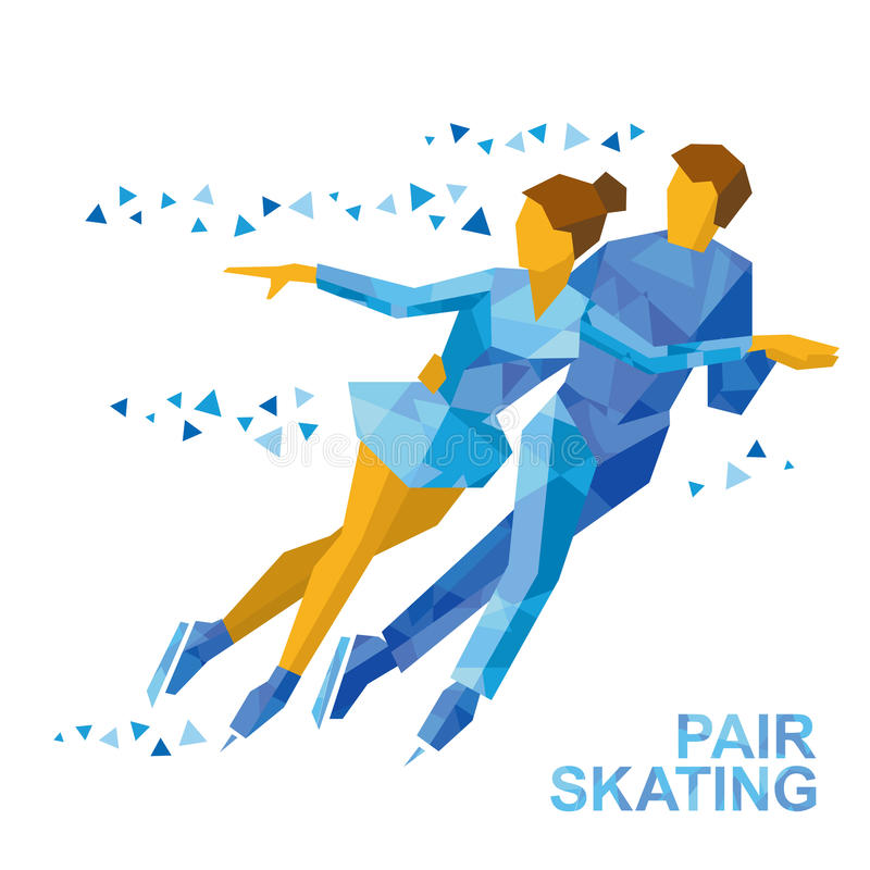 Winter sports - Pair Figure Skating. Man and woman on ice stock illustration