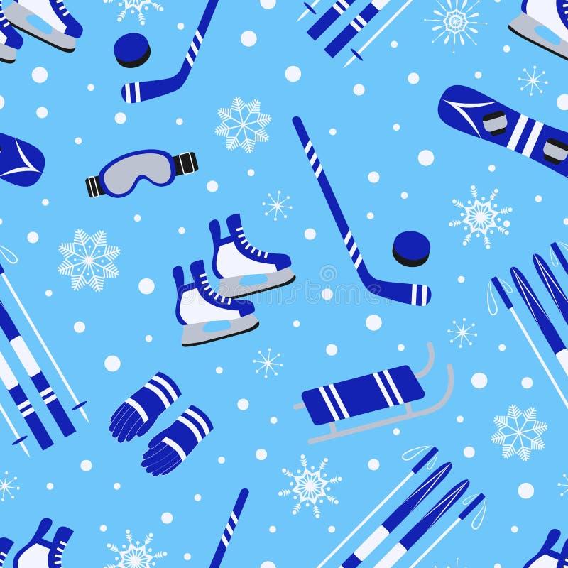 Winter sports seamless pattern. Seasonal outdoors background. Sporting equipment vector design. Cute childish repeat stock illustration