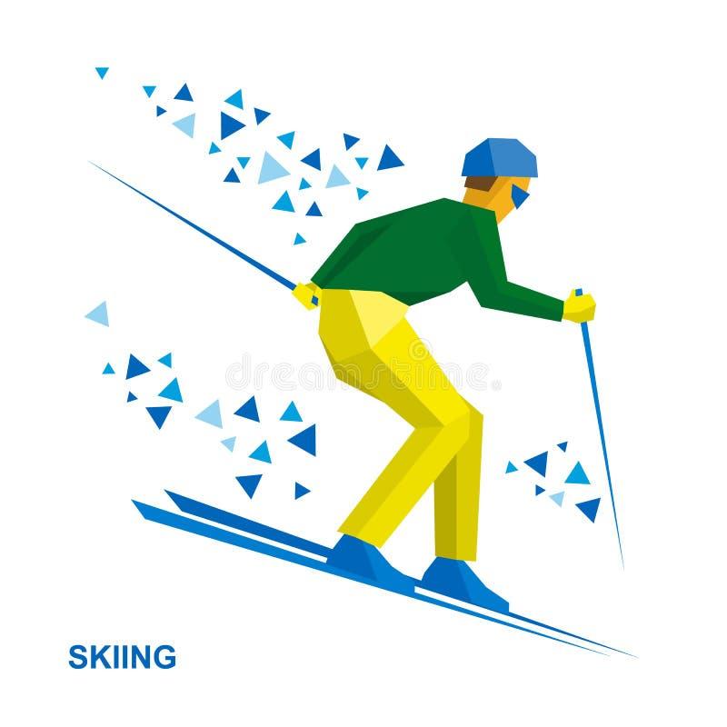 Winter sports - Skiing. Skier running downhill. stock illustration