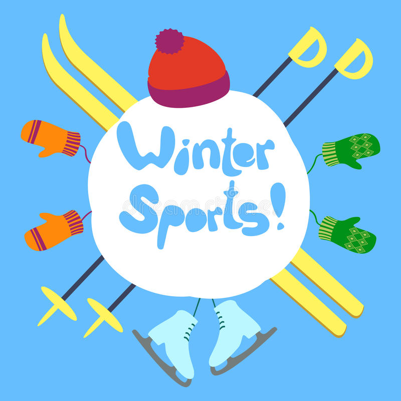 Winter sports text royalty free stock photos