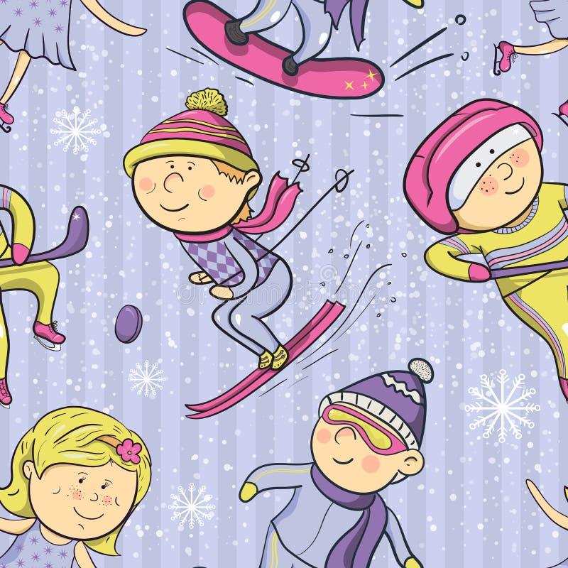 Winter sports, vector cartoon sportsmen seamless stock illustration