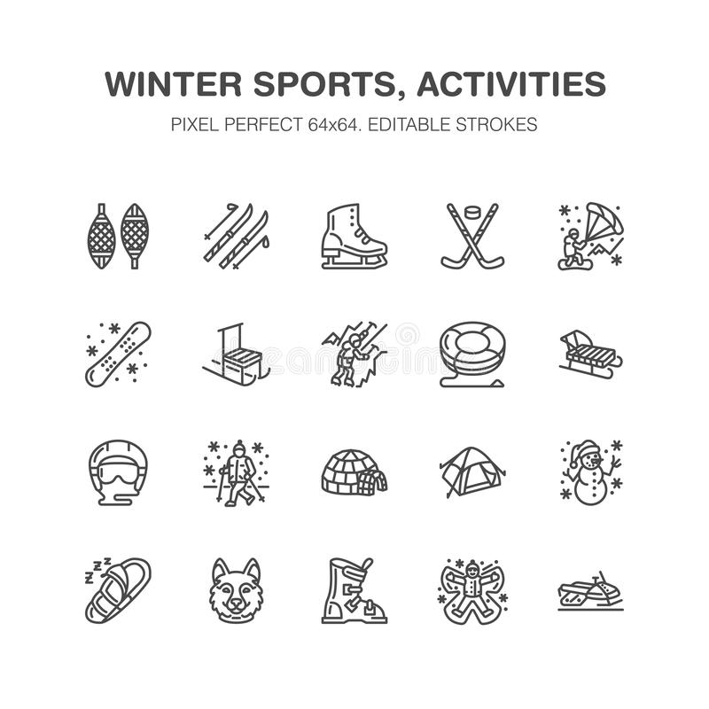 Winter sports vector flat line icons. Outdoor activities equipment snowboard, hockey, sled, skates, snow tubing, ice. Kiting. Linear pictogram with editable stock illustration