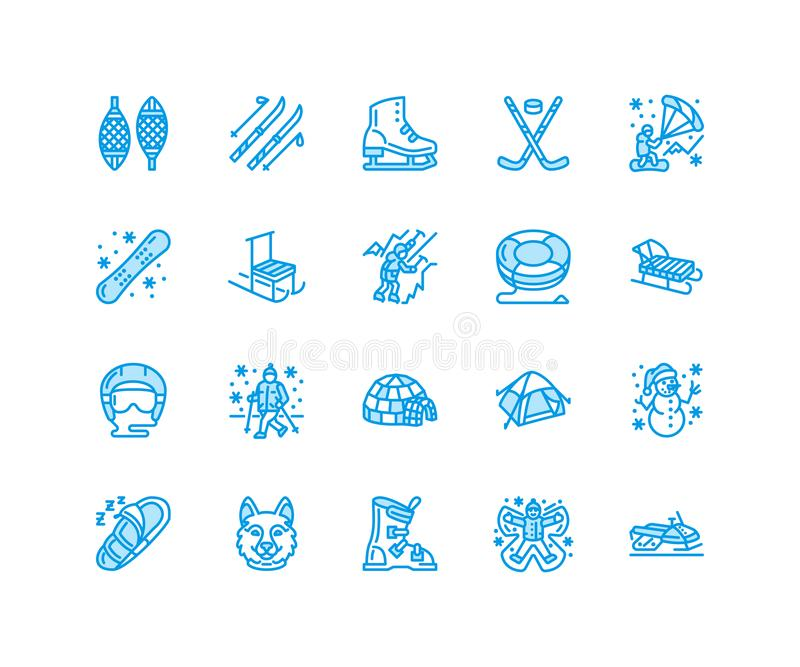 Winter sports vector flat line icons. Outdoor activities equipment snowboard, hockey, sled, skates, snow tubing, ice. Kiting. Linear pictogram with editable vector illustration