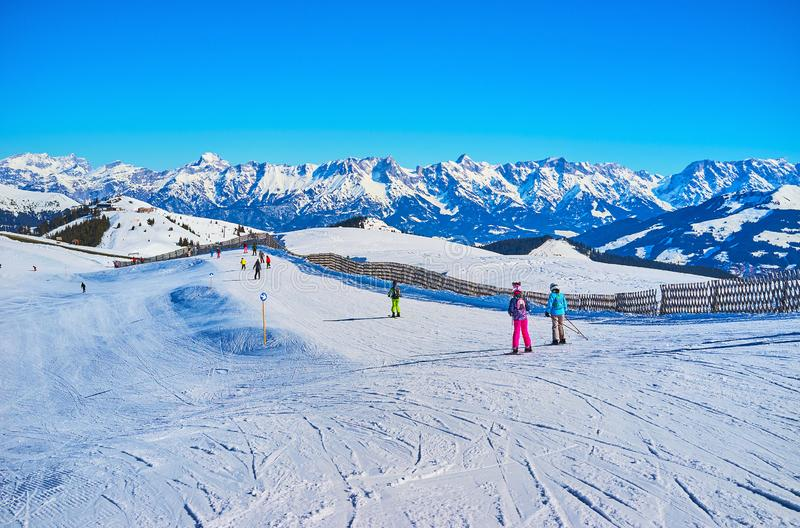 Winter sports in Zell am See, Austria royalty free stock photo