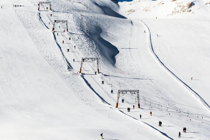 Winter sports on Zugspitze stock photos