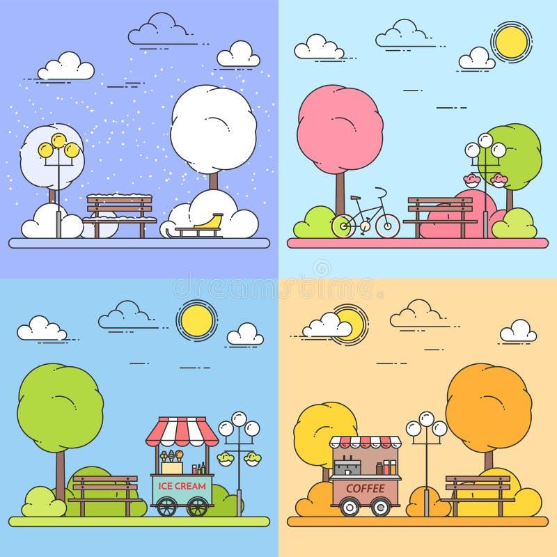 Winter, spring, summer, autumn city landscapes with central park. Vector illustration. Line art. Four seasons set. stock illustration