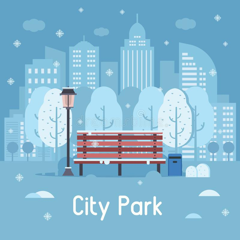 Winter-Stadt-Park-Vektor-Illustration vektor abbildung