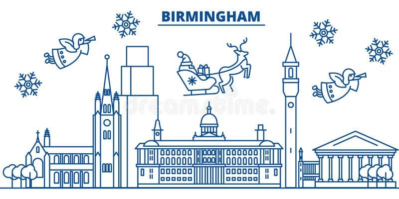 Winter-Stadtskyline Großbritanniens, Birmingham Frohe Weihnachten, glücklich lizenzfreie abbildung