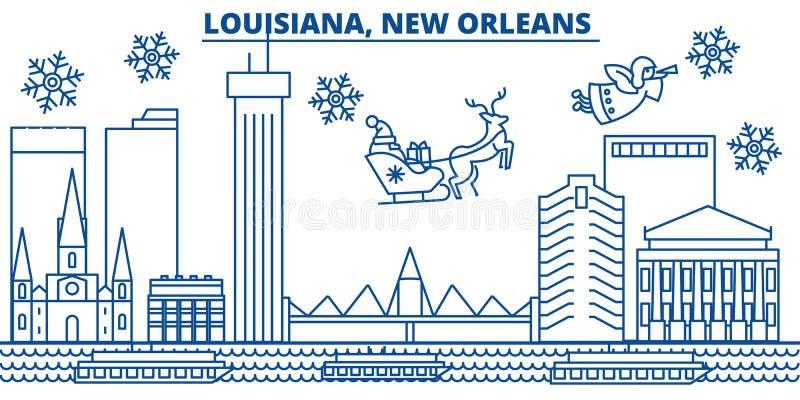 Winter-Stadtskyline USA, Louisiana, New Orleans Frohe Weihnachten und guten Rutsch ins Neue Jahr verzierten Fahne Wintergruß lizenzfreie abbildung