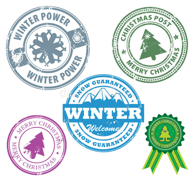 Download Winter stamps stock vector. Image of illustration, rubber - 25301635