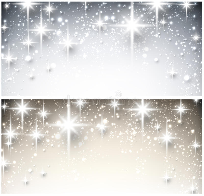 Winter starry christmas banners. vector illustration