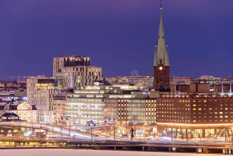Winter Stockholm auf Sonnenuntergang stockbilder