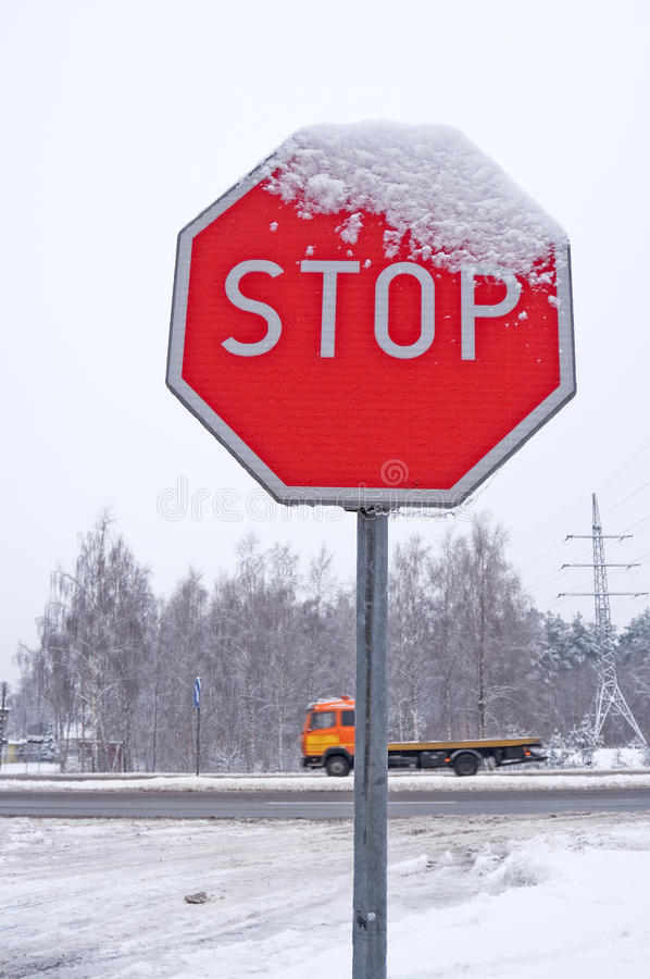 Download Winter Stop Sign Royalty Free Stock Image - Image: 17053686