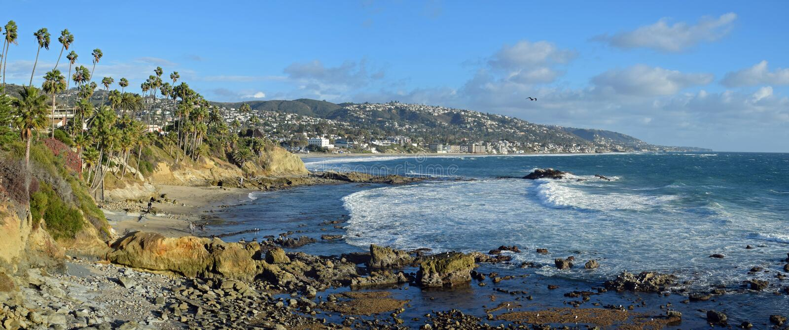 Winter storm at Rock Pile Beach in Laguna Beach, California. Panorama image shows conditions after the passaage of a winter storm at Rock Pile Beach in Laguna stock photography