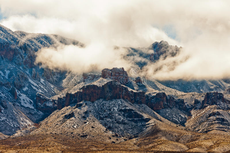 Winter Storm Snow Chisos Mountains Big Bend NP TX. After a winter storm swept Chihuahuan Desert bringing snow to Chisos Mountains in Big Bend National Park stock image