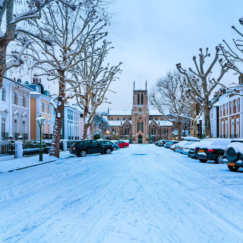 Winter-Straße, London - England lizenzfreie stockfotografie