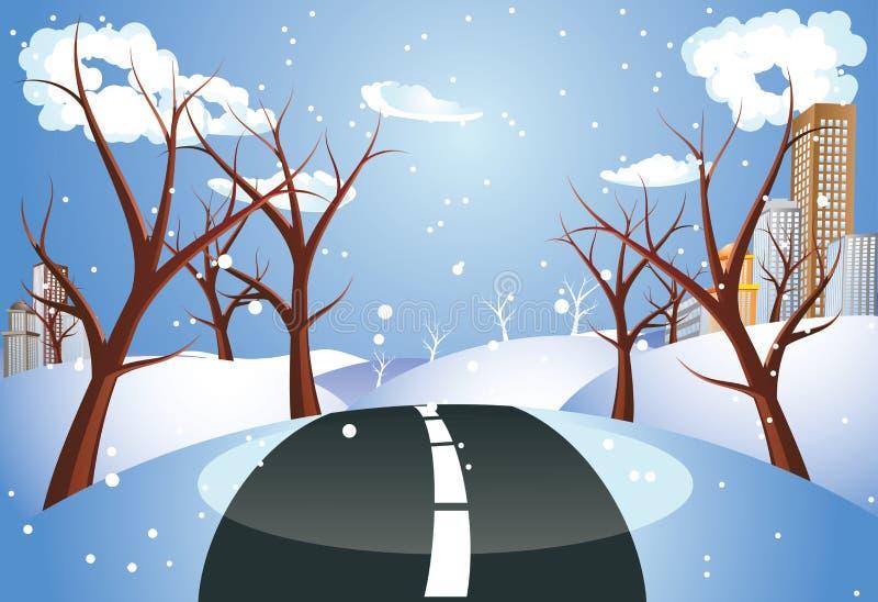 Winter-Straße zur Stadt vektor abbildung