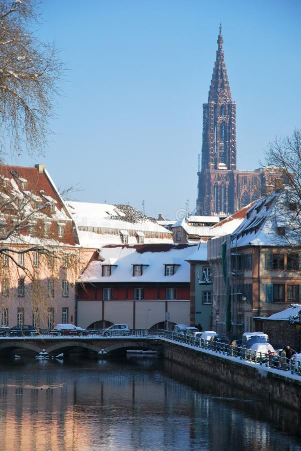 Download The Winter On Strasbourg Quay Stock Photo - Image of snow, winter: 17747062