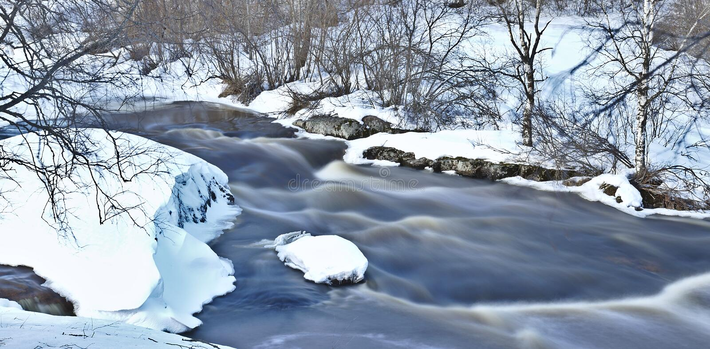 Winter stream long exposure royalty free stock photo