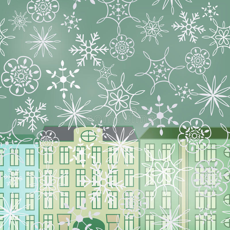 Download Winter street stock vector. Image of fall, blur, architecture - 31016938