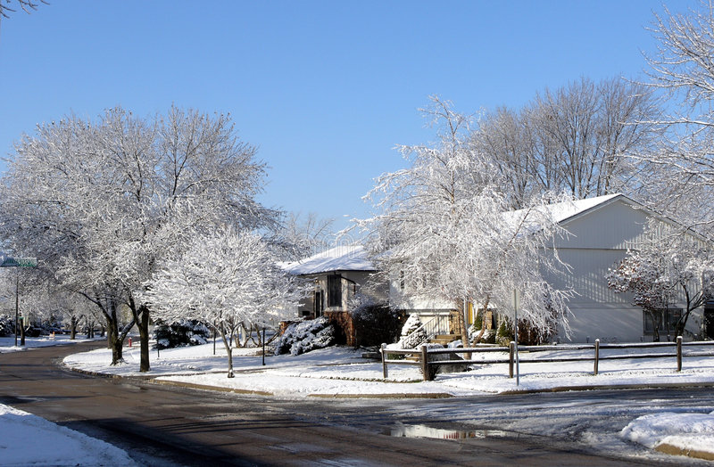 Download Winter Street Scene stock image. Image of trees, midwest - 70269