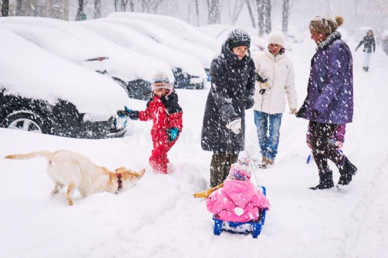 Winter street scene stock photography