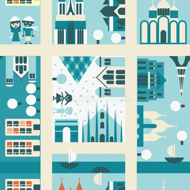 Winter street seamless backgrounds in vector vector illustration
