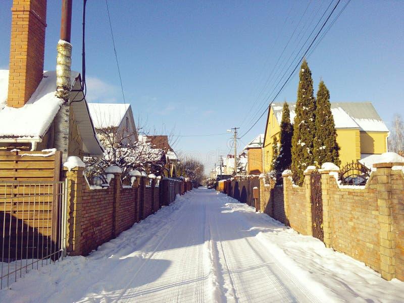 Winter street stock image