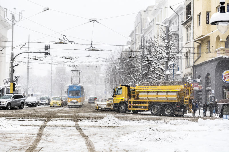 Winter street in Sofia,Bulgaria stock images