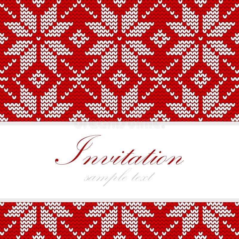 Winter strickte Weihnachtskarte, nordisches Muster, Hintergrundillustration vektor abbildung