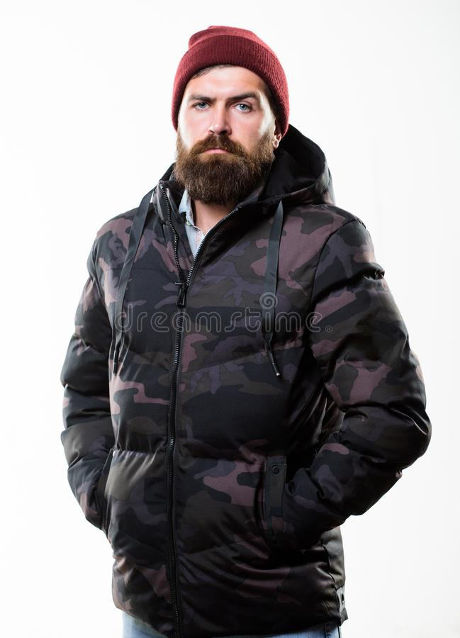Winter stylish menswear. Man bearded stand warm camouflage pattern jacket parka isolated on white background. Hipster. Winter fashion. Guy wear hat and black royalty free stock images
