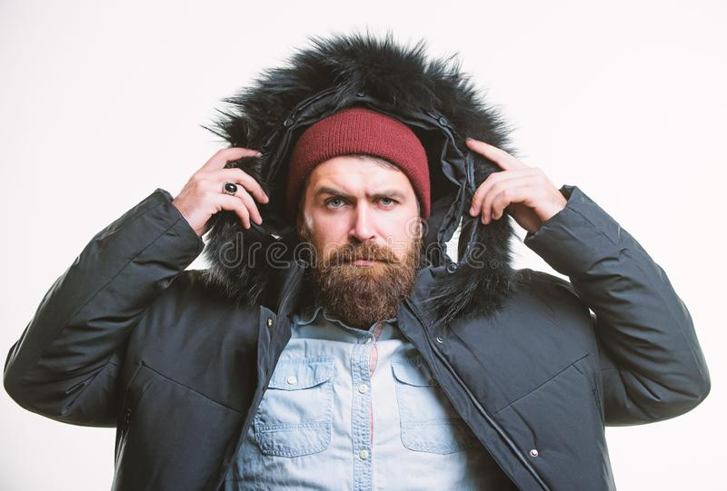 Winter stylish menswear. Man bearded stand warm jacket parka isolated on white background. Winter outfit. Hipster winter royalty free stock photo