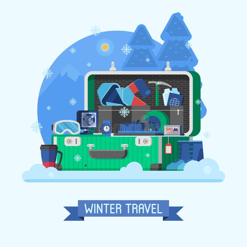 Winter Travel Suitcase Fully Stuffed royalty free illustration