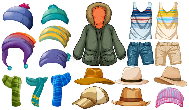 Winter and summer clothes stock illustration