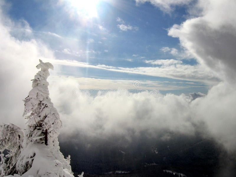 Winter sun above clouds royalty free stock image