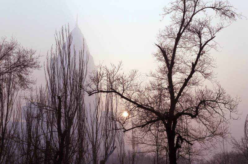 Winter sun glimpse through smog in Urumqi royalty free stock photo